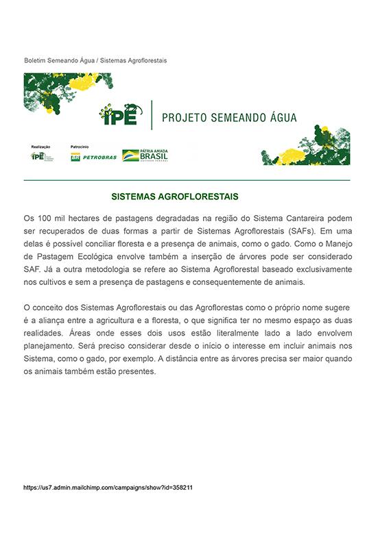 Boletim Técnico - Sistemas Agroflorestais